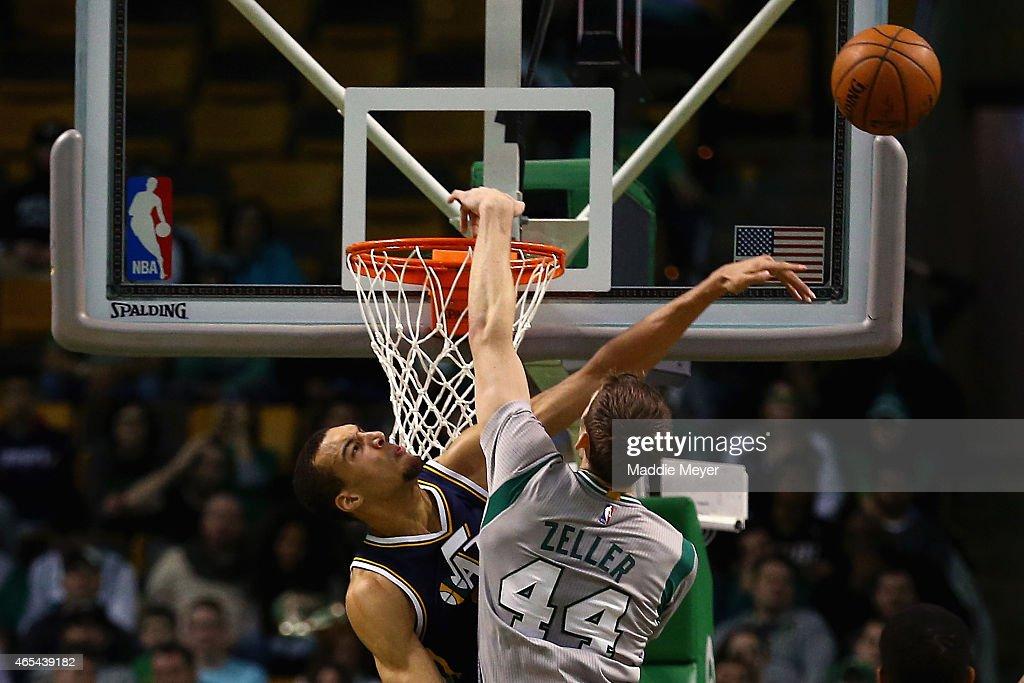 Rudy Gobert #27 of the Utah Jazz blocks a shot from Tyler Zeller #44 of the Boston Celtics during the second half at TD Garden on March 4, 2015 in Boston, Massachusetts. The Celtics defeat the Jazz 85-84.