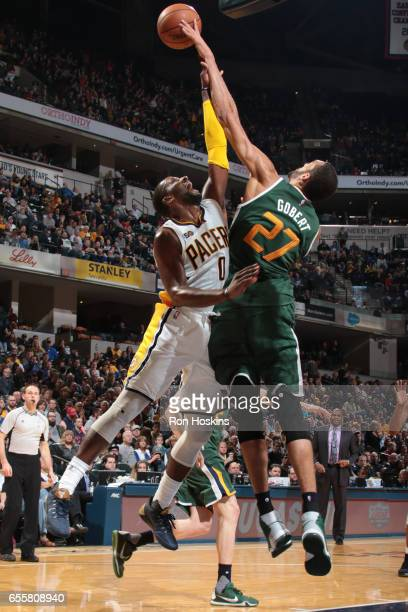 Rudy Gobert of the Utah Jazz blocks against CJ Miles of the Indiana Pacers on March 20 2017 at Bankers Life Fieldhouse in Indianapolis Indiana NOTE...
