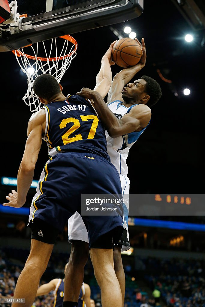 <a gi-track='captionPersonalityLinkClicked' href=/galleries/search?phrase=Rudy+Gobert&family=editorial&specificpeople=7616046 ng-click='$event.stopPropagation()'>Rudy Gobert</a> #27 of the Utah Jazz blocks <a gi-track='captionPersonalityLinkClicked' href=/galleries/search?phrase=Andrew+Wiggins&family=editorial&specificpeople=7720937 ng-click='$event.stopPropagation()'>Andrew Wiggins</a> #22 of the Minnesota Timberwolves shot during the game on March 30, 2015 at Target Center in Minneapolis, Minnesota.