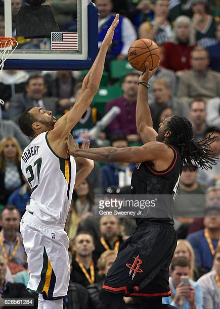 Rudy Gobert of the Utah Jazz blocks the second half shot of Nene Hilario of the Houston Rockets during the 120101 win by the Jazz at Vivint Smart...