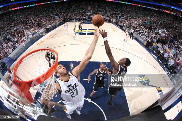 Rudy Gobert of the Utah Jazz blocks the shot against the Brooklyn Nets during the game on March 3 2017 at vivintSmartHome Arena in Salt Lake City...