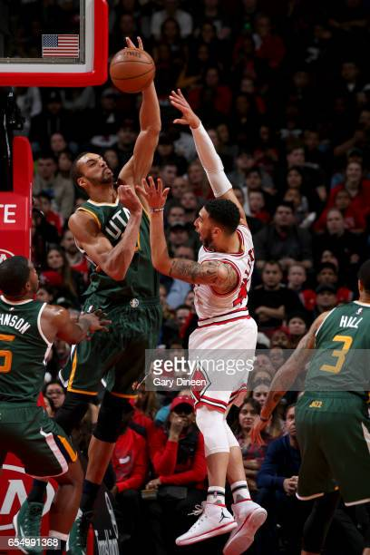 Rudy Gobert of the Utah Jazz blocks the shot against the Chicago Bulls on March 18 2017 at the United Center in Chicago Illinois NOTE TO USER User...