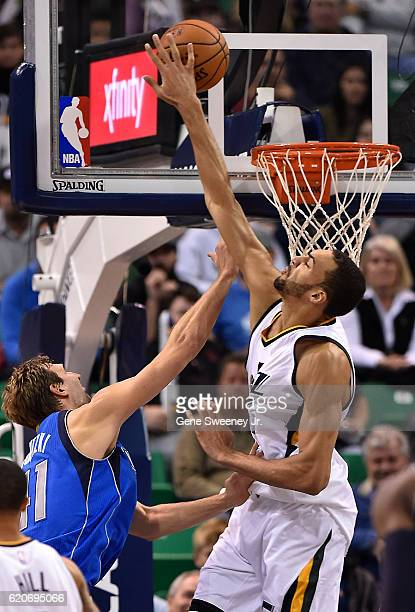 Rudy Gobert of the Utah Jazz blocks the shot by Dirk Nowitzki of the Dallas Mavericks in the second half of the 9781 win by the Jazz at Vivint Smart...
