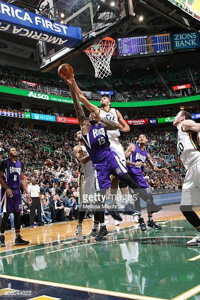 Rudy Gobert of the Utah Jazz blocks the shot of DeMarcus Cousins of the Sacramento Kings on January 14 2016 at vivintSmartHome Arena in Salt Lake...