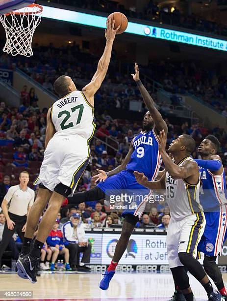 Rudy Gobert of the Utah Jazz blocks the shot of JaKarr Sampson of the Philadelphia 76ers on October 30 2015 at the Wells Fargo Center in Philadelphia...