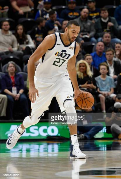 Rudy Gobert of the Utah Jazz brings the ball up court against the Maccabi Haifa in preseason action at Vivint Smart Home Arena on October 4 2017 in...