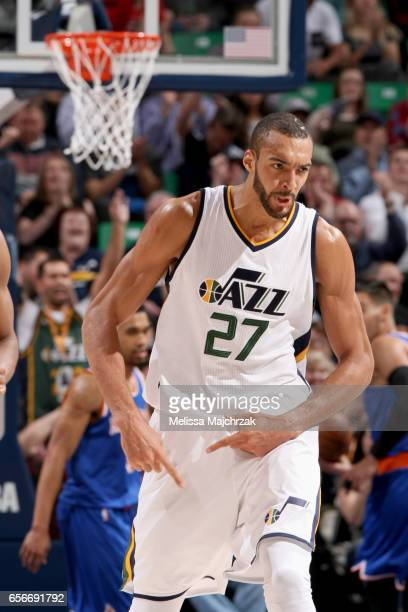 Rudy Gobert of the Utah Jazz celebrates after scoring against the New York Knicks on March 22 2017 at vivintSmartHome Arena in Salt Lake City Utah...