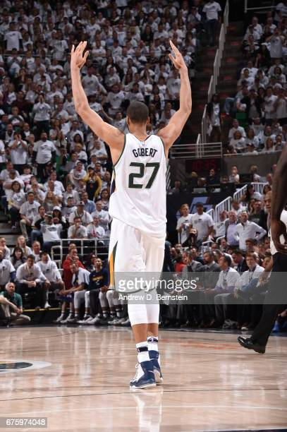 Rudy Gobert of the Utah Jazz celebrates during the game against the Los Angeles Clippers during Game Six of the Western Conference Quarterfinals of...