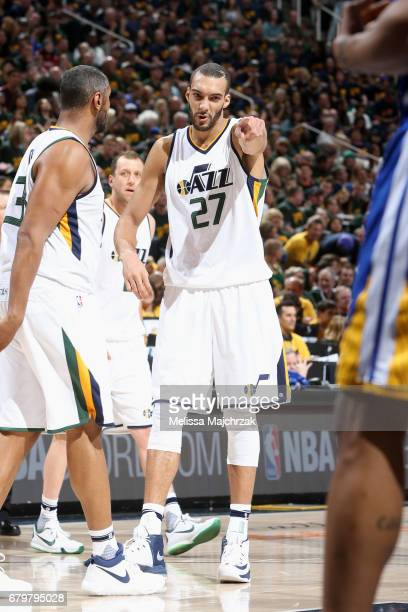 Rudy Gobert of the Utah Jazz celebrates with his teammates during the game against the Golden State Warriors during Game Three of the Western...