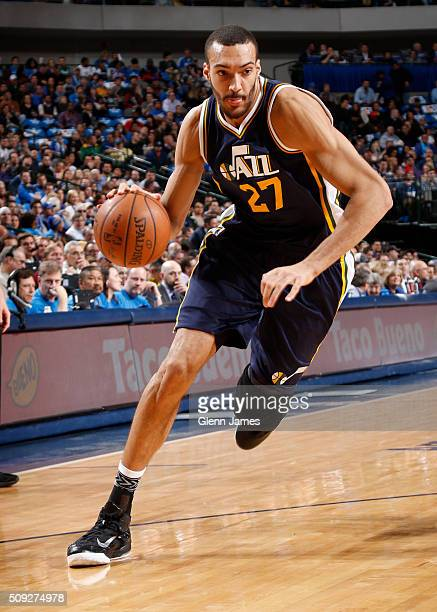 Rudy Gobert of the Utah Jazz drives against the Dallas Mavericks on February 9 2016 at the American Airlines Center in Dallas Texas NOTE TO USER User...