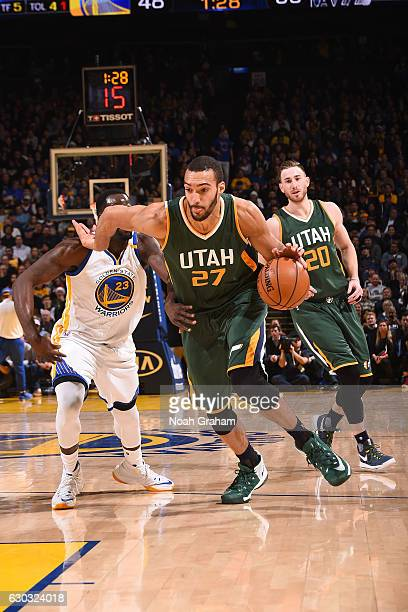 Rudy Gobert of the Utah Jazz drives to the basket against the Golden State Warriors on December 20 2016 at ORACLE Arena in Oakland California NOTE TO...