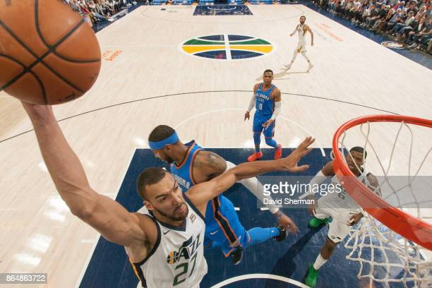 Rudy Gobert of the Utah Jazz drives to the basket during a game against the Oklahoma City Thunder on October 21 2017 at Vivint Smart Home Arena in...