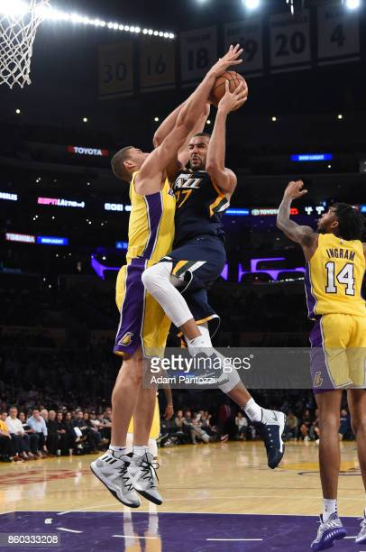 Rudy Gobert of the Utah Jazz drives to the basket during the preseason game against the Los Angeles Lakers on October 10 2017 at STAPLES Center in...