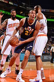 Rudy Gobert of the Utah Jazz drivs against the Phoenix Suns on October 9 at Talking Stick Resort Arena in Phoenix Arizona NOTE TO USER User expressly...
