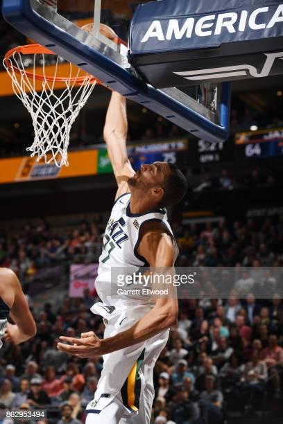 Rudy Gobert of the Utah Jazz dunks against the Denver Nuggets during the game on October 18 2017 at vivintSmartHome Arena in Salt Lake City Utah NOTE...