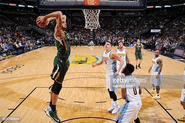 Rudy Gobert of the Utah Jazz dunks against the Denver Nuggets on November 20 2016 at the Pepsi Center in Denver Colorado NOTE TO USER User expressly...