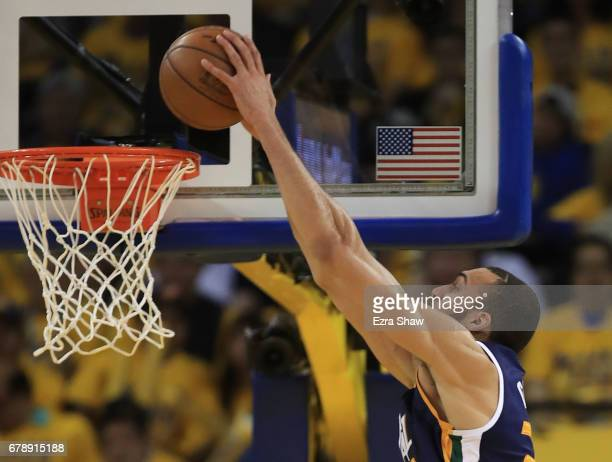Rudy Gobert of the Utah Jazz dunks against the Golden State Warriors during Game Two of the NBA Western Conference SemiFinals at ORACLE Arena on May...