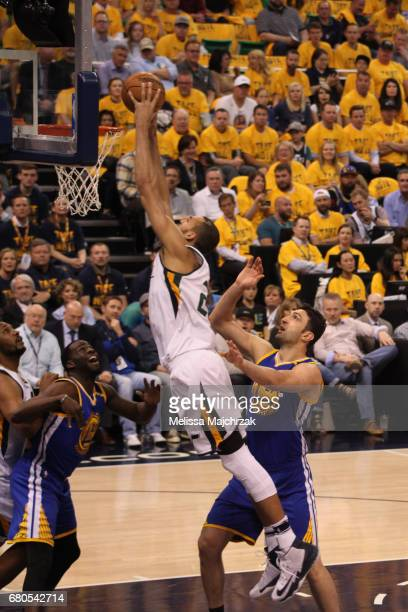 Rudy Gobert of the Utah Jazz dunks against the Golden State Warriors in Game Four of the Western Conference Semifinals of the 2017 NBA Playoffs on...