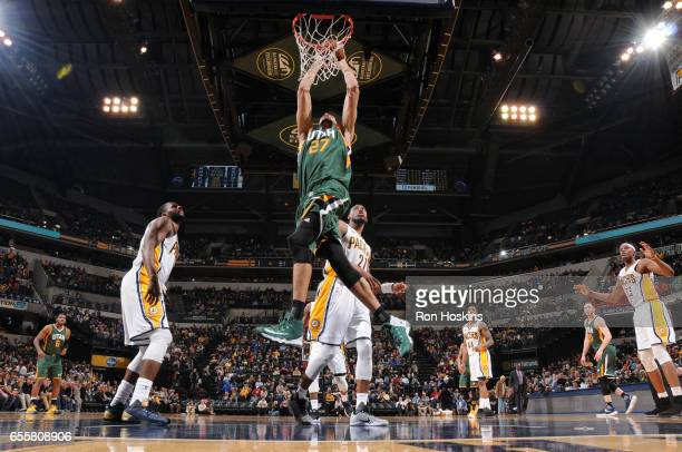 Rudy Gobert of the Utah Jazz dunks against the Indiana Pacers on March 20 2017 at Bankers Life Fieldhouse in Indianapolis Indiana NOTE TO USER User...
