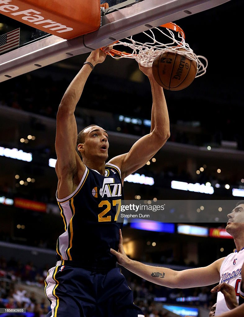 <a gi-track='captionPersonalityLinkClicked' href=/galleries/search?phrase=Rudy+Gobert&family=editorial&specificpeople=7616046 ng-click='$event.stopPropagation()'>Rudy Gobert</a> #27 of the Utah Jazz dunks against the Los Angeles Clippers at Staples Center on October 23, 2013 in Los Angeles, California. The Clippers won 103-99.