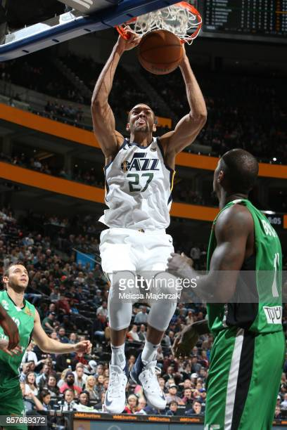 Rudy Gobert of the Utah Jazz dunks against the Maccabi Haifa during a preseason game on October 4 2017 at vivintSmartHome Arena in Salt Lake City...