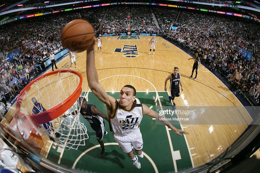 <a gi-track='captionPersonalityLinkClicked' href=/galleries/search?phrase=Rudy+Gobert&family=editorial&specificpeople=7616046 ng-click='$event.stopPropagation()'>Rudy Gobert</a> #27 of the Utah Jazz dunks against the Memphis Grizzlies during the game on April 10, 2015 at EnergySolutions Arena in Salt Lake City, Utah.