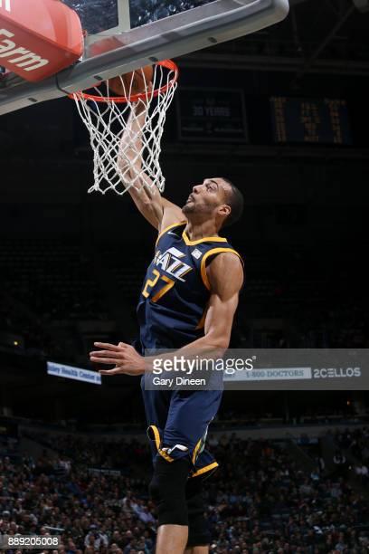 Rudy Gobert of the Utah Jazz dunks against the Milwaukee Bucks on December 9 2017 at the BMO Harris Bradley Center in Milwaukee Wisconsin NOTE TO...