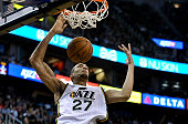Rudy Gobert of the Utah Jazz dunks during their game against the Cleveland Cavaliers at EnergySolutions Arena on November 5 2014 in Salt Lake City...