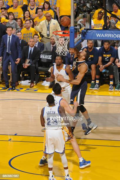 Rudy Gobert of the Utah Jazz dunks the ball against the Golden State Warriors in Game Two the Western Conference Semifinals during the 2017 NBA...