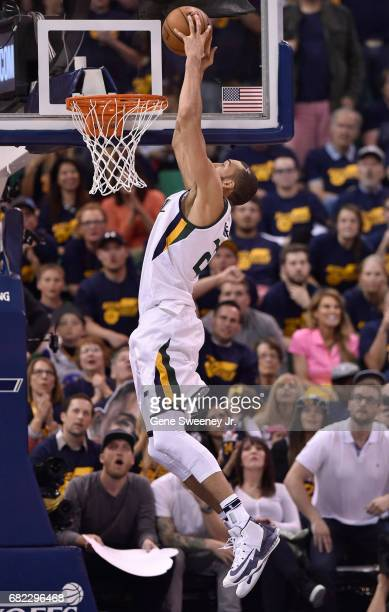 Rudy Gobert of the Utah Jazz dunks the ball against the Golden State Warriors in Game Three of the Western Conference Semifinals during the 2017 NBA...
