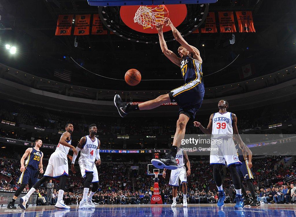 Rudy Gobert #27 of the Utah Jazz dunks the ball against the Philadelphia 76ers at Wells Fargo Center on March 6, 2015 in Philadelphia, Pennsylvania