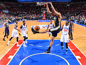 Rudy Gobert of the Utah Jazz dunks the ball against the Philadelphia 76ers at Wells Fargo Center on March 6 2015 in Philadelphia Pennsylvania NOTE TO...