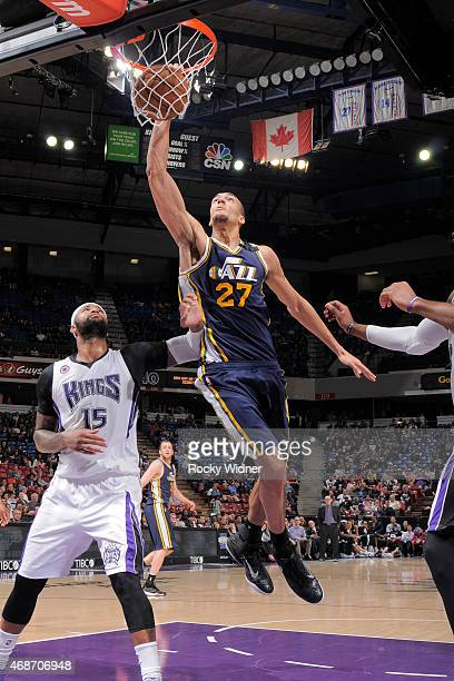 Rudy Gobert of the Utah Jazz dunks the ball against the Sacramento Kings at Sleep Train Arena on April 5 2015 in Sacramento California NOTE TO USER...