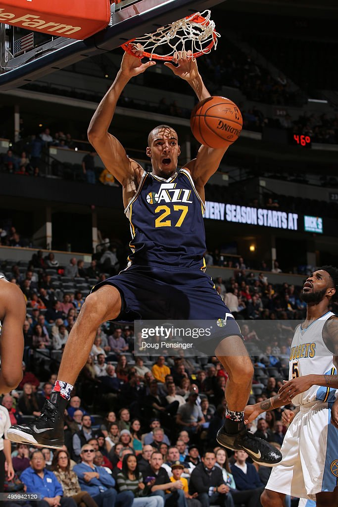 <a gi-track='captionPersonalityLinkClicked' href=/galleries/search?phrase=Rudy+Gobert&family=editorial&specificpeople=7616046 ng-click='$event.stopPropagation()'>Rudy Gobert</a> #27 of the Utah Jazz dunks the ball against <a gi-track='captionPersonalityLinkClicked' href=/galleries/search?phrase=Will+Barton&family=editorial&specificpeople=6894020 ng-click='$event.stopPropagation()'>Will Barton</a> #5 of the Denver Nuggets at Pepsi Center on November 5, 2015 in Denver, Colorado. The Jazz defeated the Nuggets 96-84.
