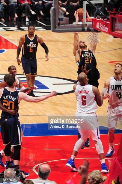Rudy Gobert of the Utah Jazz dunks the ball during a game against the LA Clippers on March 25 2017 at STAPLES Center in Los Angeles California NOTE...