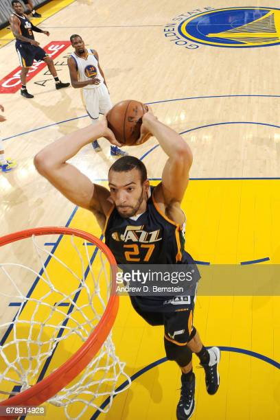 Rudy Gobert of the Utah Jazz dunks the ball during the game against the Golden State Warriors during Game Two of the Western Conference Semifinals of...