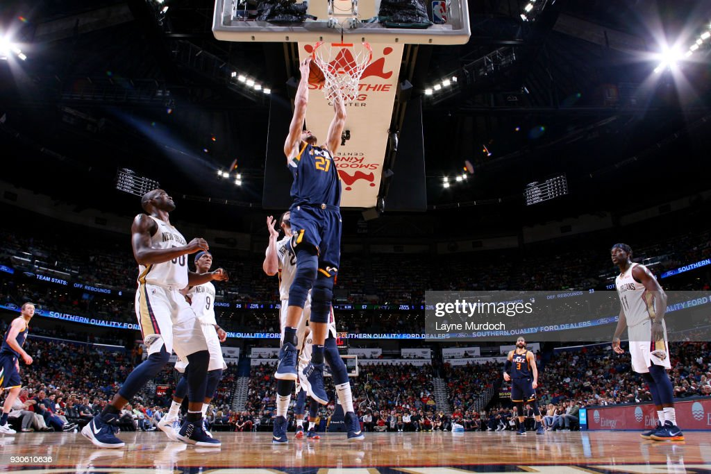 Rudy Gobert #27 of the Utah Jazz dunks the ball during the game against the New Orleans Pelicans on March 11, 2018 at the Smoothie King Center in New Orleans, Louisiana.