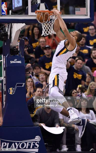 Rudy Gobert of the Utah Jazz dunks the ball in the second half of their 10291 loss to the Golden State Warriors in Game Three of the Western...