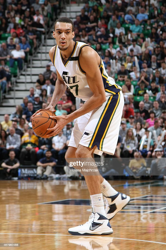 <a gi-track='captionPersonalityLinkClicked' href=/galleries/search?phrase=Rudy+Gobert&family=editorial&specificpeople=7616046 ng-click='$event.stopPropagation()'>Rudy Gobert</a> #27 of the Utah Jazz during the game against the Oklahoma City Thunder on March 28, 2015 at EnergySolutions Arena in Salt Lake City, Utah.