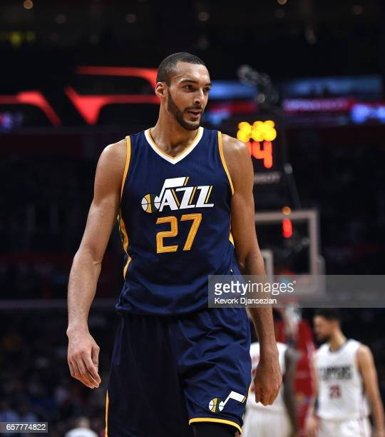 Rudy Gobert of the Utah Jazz during the second half of the basketball game against Los Angeles Clippers at Staples Center March 25 in Los Angeles...