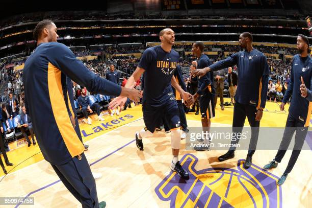 Rudy Gobert of the Utah Jazz gets introduced before a preseason game against the Los Angeles Lakers on October 10 2017 at STAPLES Center in Los...