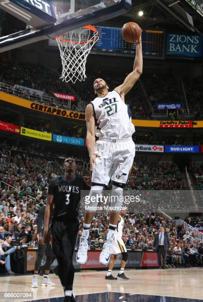 Rudy Gobert of the Utah Jazz goes for a lay up against the Minnesota Timberwolves during the game on April 7 2017 at vivintSmartHome Arena in Salt...