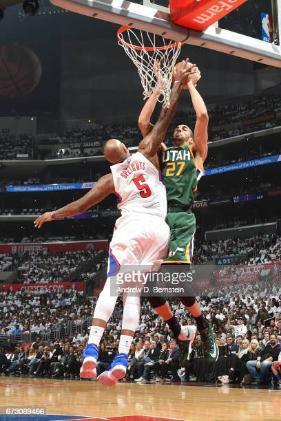 Rudy Gobert of the Utah Jazz goes to the basket against the LA Clippers in Game Five of the Western Conference Quarterfinals of the 2017 NBA Playoffs...