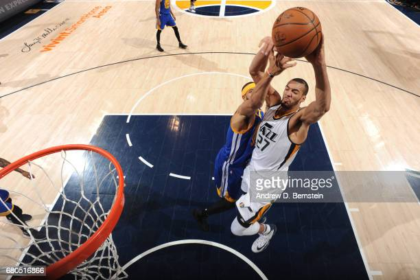 Rudy Gobert of the Utah Jazz goes to the basket against the Golden State Warriors during Game Four of the Western Conference Semifinals of the 2017...
