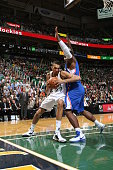 Rudy Gobert of the Utah Jazz goes to the basket against the Los Angeles Clippers during a game at EnergySolutions Arena on October 13 2014 in Salt...
