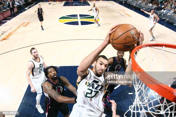 Rudy Gobert of the Utah Jazz goes to the basket against the Los Angeles Clippers on February 13 2017 at vivintSmartHome Arena in Salt Lake City Utah...