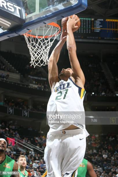 Rudy Gobert of the Utah Jazz goes up for a dunk against the Maccabi Haifa during a preseason game on October 4 2017 at vivintSmartHome Arena in Salt...