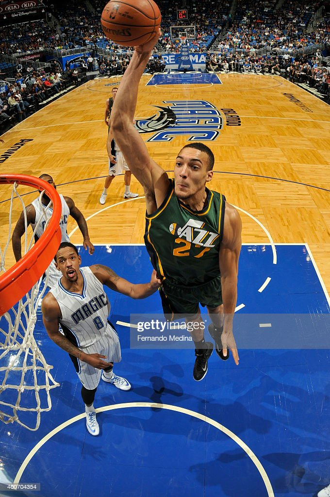 <a gi-track='captionPersonalityLinkClicked' href=/galleries/search?phrase=Rudy+Gobert&family=editorial&specificpeople=7616046 ng-click='$event.stopPropagation()'>Rudy Gobert</a> #27 of the Utah Jazz goes up for a dunk against the Orlando Magic on December 19, 2014 at Amway Center in Orlando, Florida.
