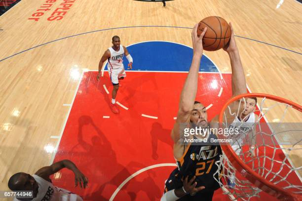Rudy Gobert of the Utah Jazz goes up for a dunk during a game against the LA Clippers on March 25 2017 at STAPLES Center in Los Angeles California...