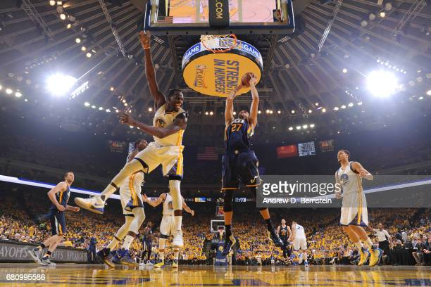Rudy Gobert of the Utah Jazz grabs a rebound against the Golden State Warriors in Game Two the Western Conference Semifinals during the 2017 NBA...